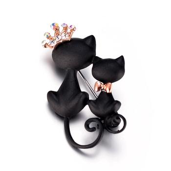 Tajemniczy i elegancki czarny kot broszka zdobią czarny kot broszka akcesoria sweter tanie i dobre opinie NoEnName_Null Ze stopu cynku Broszki Zwierząt Moda Kobiety TRENDY Metal