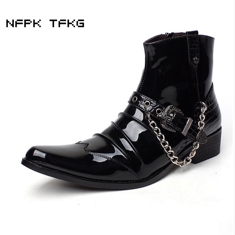 b7316c1c5f1c Black Patent PU Leather Chain Men Boots Mens Glossy Shoes Male Casual  Buckle Ankle Motorcycle Boot Bota Masculina Pointed