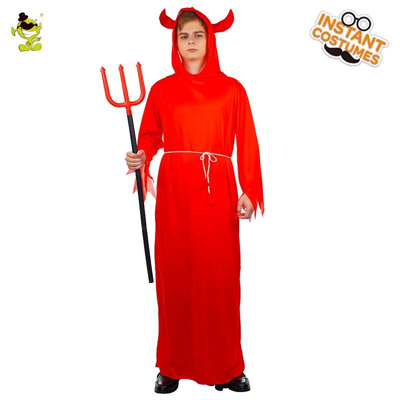 Men's Devil Lord Halloween Costumes Adult Men Hooded Evil Red Demon Devil Costume Uniform Robe Cosplay Party Devil Costumes