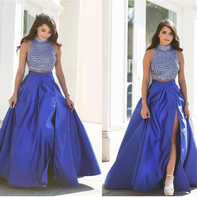 Jupes longues en Satin bleu Royal Sexy bouffantes avec jupe longue plissée côté haut pour femmes