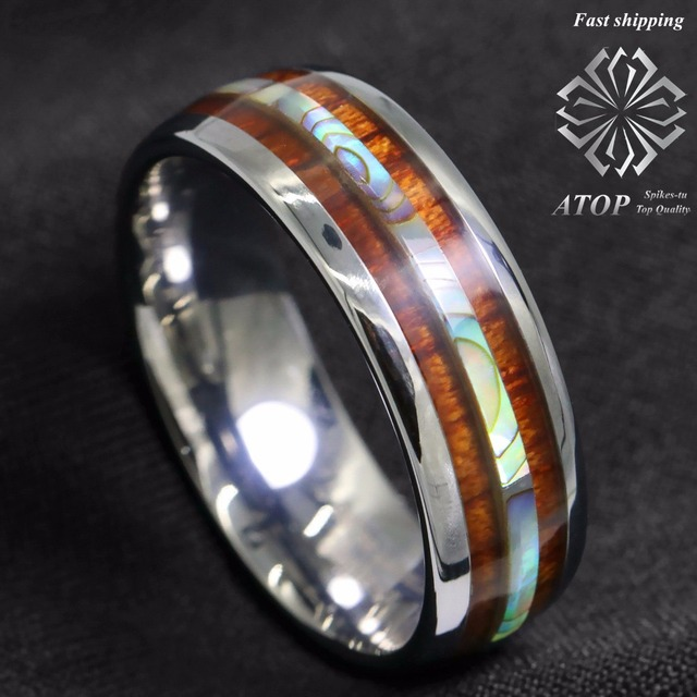 8mm Tungsten Carbide Ring Koa Wood Abalone Atop Wedding Band Ring