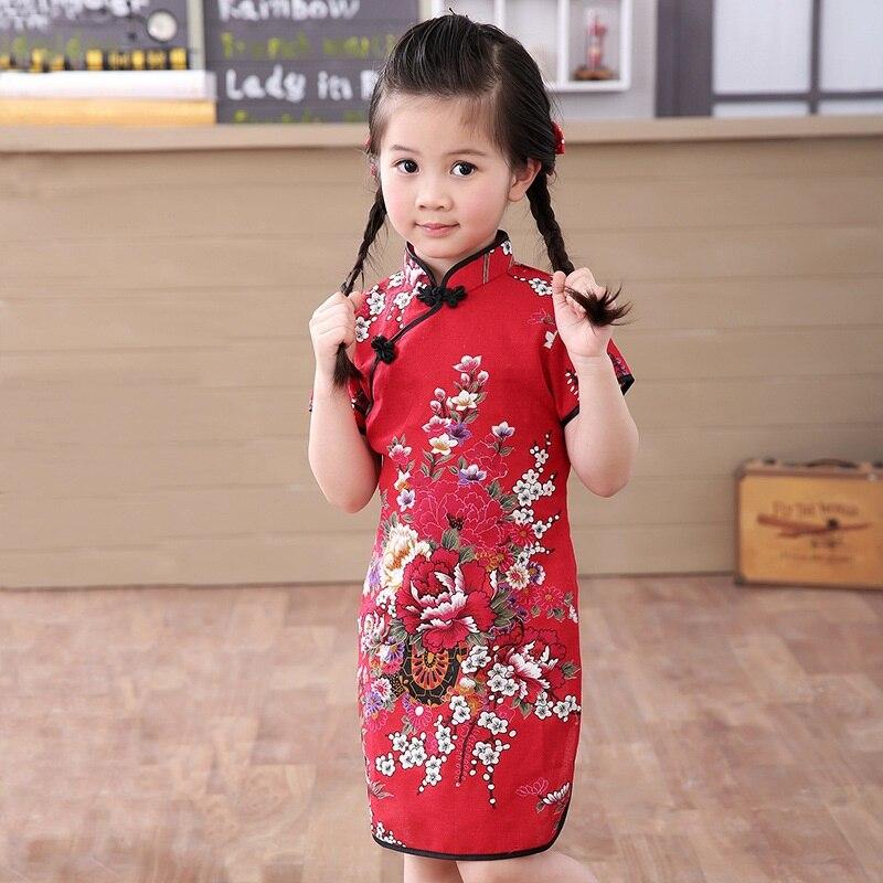 Enfants enfant bébé fille imprimé chinois Cheongsam robe enfants coton Cheongsam chinois classique robe traditionnelle pour les filles