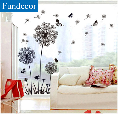 Black Dandelion Birds Home Room Decor Removable Wall Sticker Decal Decoration