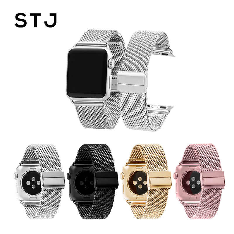 STJ Stainless Steel Milanese Loop Watchband For Apple Watch Series 1/2/3 42mm 38mm Bracelet Strap for iwatch series 4 40mm 44mm