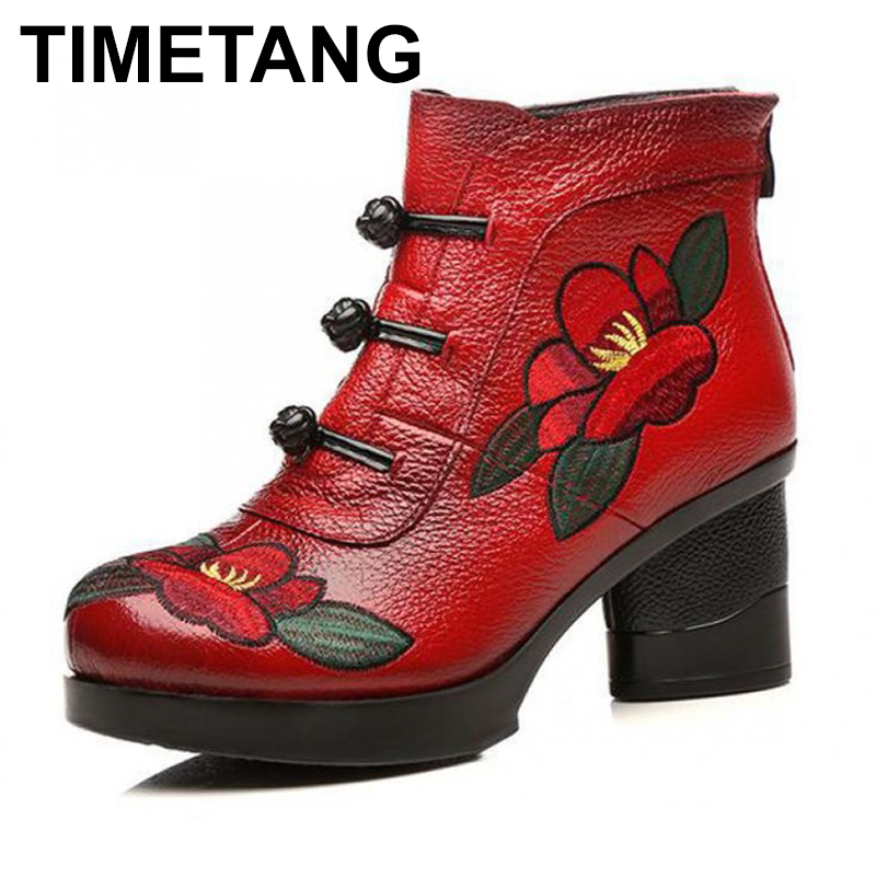 TIMETANG Women Leather Ankle Boots Embroidery Warm Winter Shoes 7 CM High Heels Retro Handmade Women Martin Boots Cheongsam women leather ankle boots black 5 cm high heels wedge shoes winter warm short plush retro martin boots leather women handmade