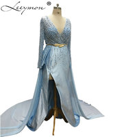 WDZ 300 Sexy Prom Party Deep V Neck Gold Sash Celebrity Inspired Dresses Full Hand Sewing Beading Carpet Gown Leg Side Split
