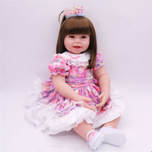 2018 New Lifelike Boneca Reborn Dolls with Long Hair Cloth Body Silicone Baby Reborn Menina Adora Doll for Girl Toys Brinquedos new 22in 55cm soft cotton body lifelike newborn baby girl with golden hair stripe clothes adora silicone baby dolls reborn toys
