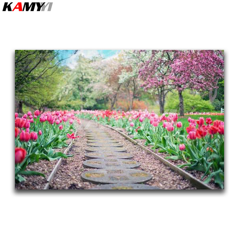 DIY 3D Diamond painting scenery Full Diamond mosaic train track Full Square Diamond embroidery Cross stitch Red flowers