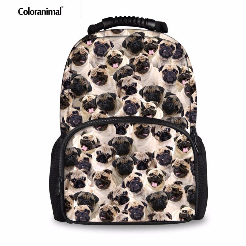Coloranimal Teen Girls Shoulder Backpack Cute 3D Animal Pug Dog Patten Print Children Cause Rucksack Customized School Bookbags