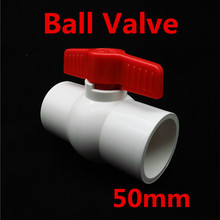 50mm to 50mm Inside Dia Slip Ends Two Way Ports PVC Ball Valve White Red