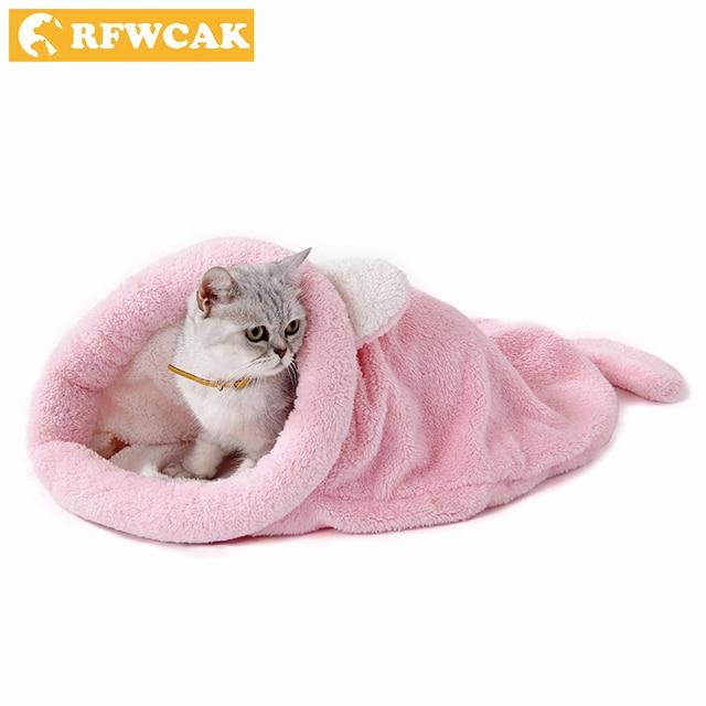 7cb7541cd518 US $14.42 49% OFF|RFWCAK Cotton Cute Cat Sleeping Bag Pet Dog Bed Four  Seasons Teddy Small Dog House Mats Cushion Kennel Puppy Sofa Pet Supplies  -in ...