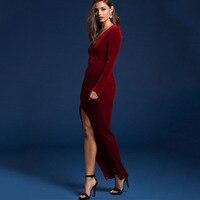 2017 Autumn Winter Evening Party Dresses Red Velvet Dress Vintage High Split Long Maxi Dresses Sexy