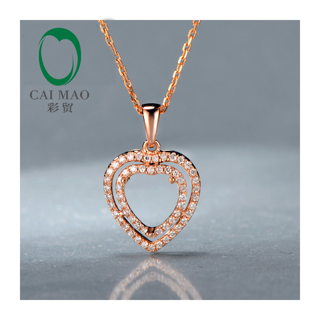 14kt Rose Gold Heart shape 7x7mm Real Diamond Engagement Semi Mount Unique Pendant Setting for free shipping