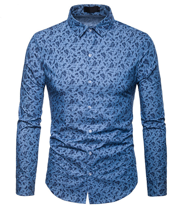 Blue Paisley Floral Print Shirt Men Camisa Masculina 2018 Brand New Slim Long Sleeve Chemise Casual Button Down Dress Shirt Male
