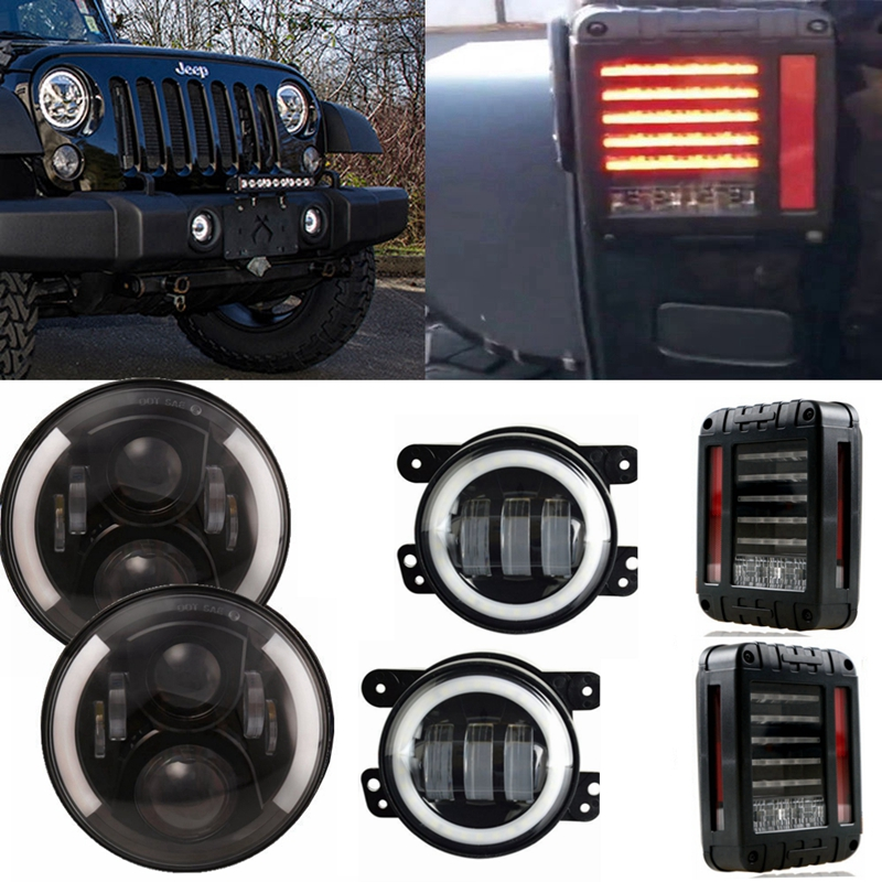 White/Amber Halo 7inch 60W LED Headlight & White Halo 4'' 30W Led Fog Light & Led Tail Lamp For Jeep Wrangler