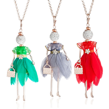 Crystal Doll Necklace For Women 8 Color Irregular Feather Dress Pendant Necklace Gold Chain Rhinestone Jewelry Girl Gift Bijoux rhinestone faux crystal feather leaf necklace