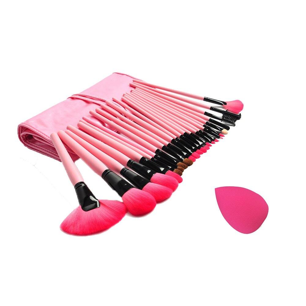 Goforward 100% New Fashion Sponge Puff + 24 PCS Cosmetic makeup brushes  & Wholesale candy color calabash shaped cosmetic makeup cotton pads sponge puff pink