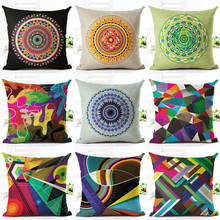 European Cushion Home Sofa Car Throw Pillows Geometric Style Plaid Printed Signature Cotton Bohemian Cojin Cushion