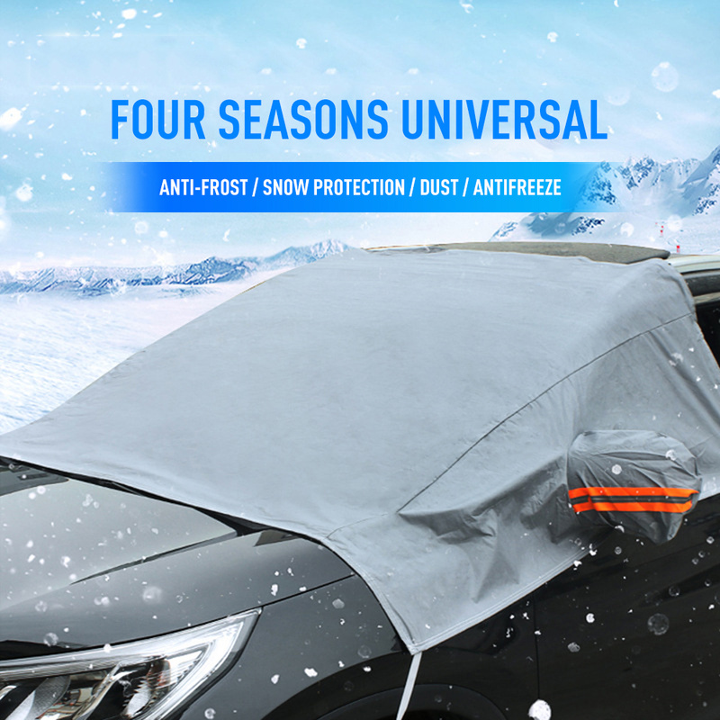 Universal Anti-Frost Front Glass Sun Protection Half Body Winter Semi-Car Clothing Car Covers With Reflective Strip Sunshade