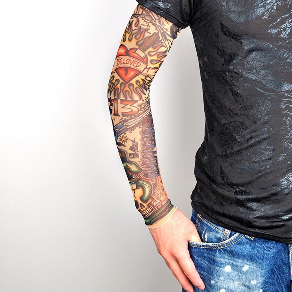 1PC Tattoo Sleeves Cool UV Protective Arm Sleeves Arm Warmer Elastic Oversleeve Arm Warmers