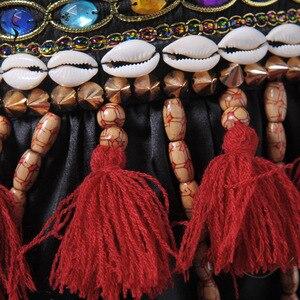 Image 3 - Vermelho tribal fusão trajes de dança do ventre conjunto de 3 peças sutiã, cinto e haren calças gypsy traje calças de dança do ventre trajes
