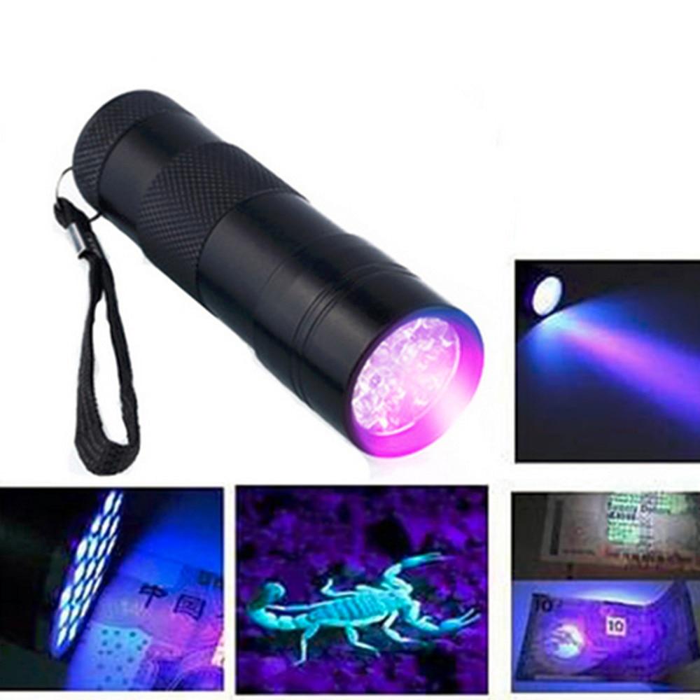 New 1pc Portable Aluminum 9Led UV Flashlight Violet Light Flashlights Torch Light Lamp Tactical Flashlight Ultraviolet Lamp