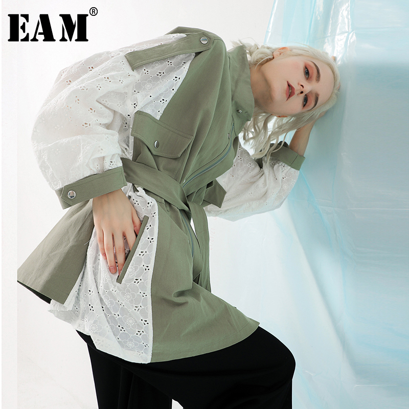 [EAM] 2019 New Spring Stand Collar Long Sleeve Back Lace Split Joint Large Size Jacket Women Coat Fashion TideJK291