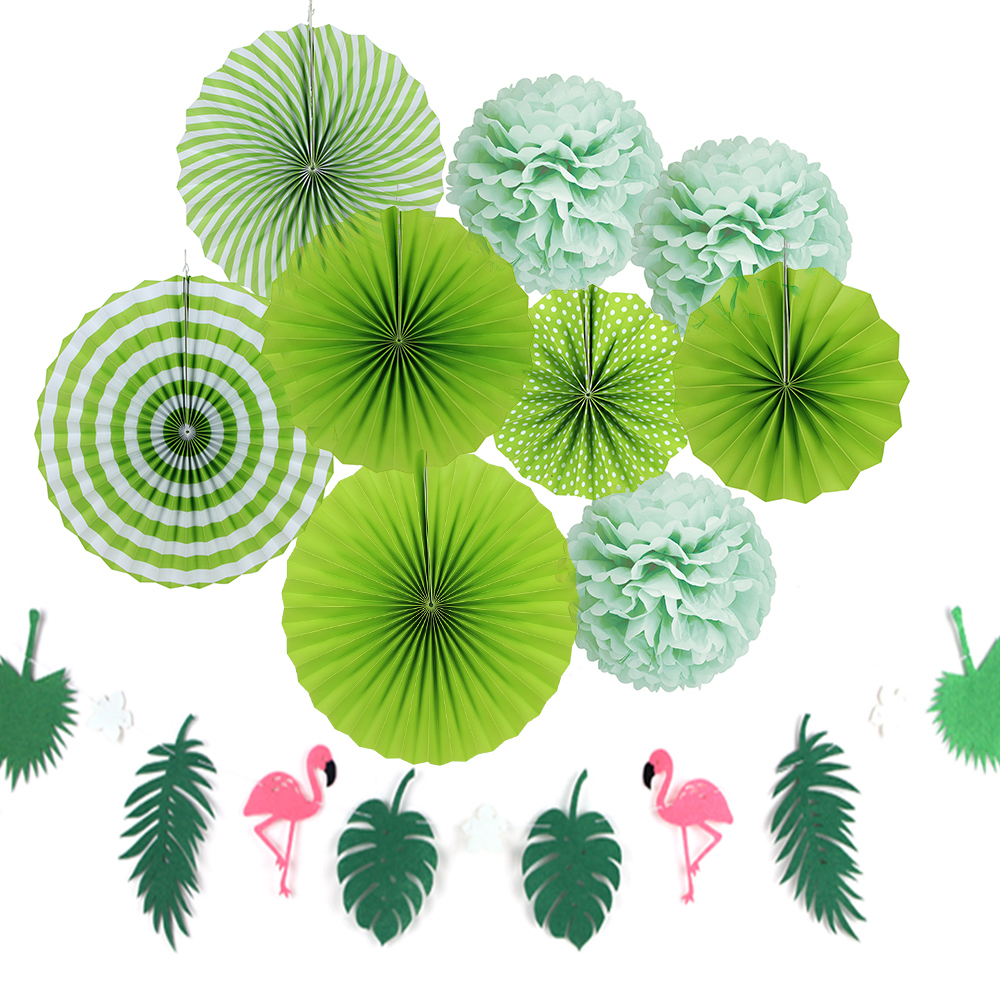 Hot Sale Summer Tropical Party Decoration Set 10pcs Green Color With