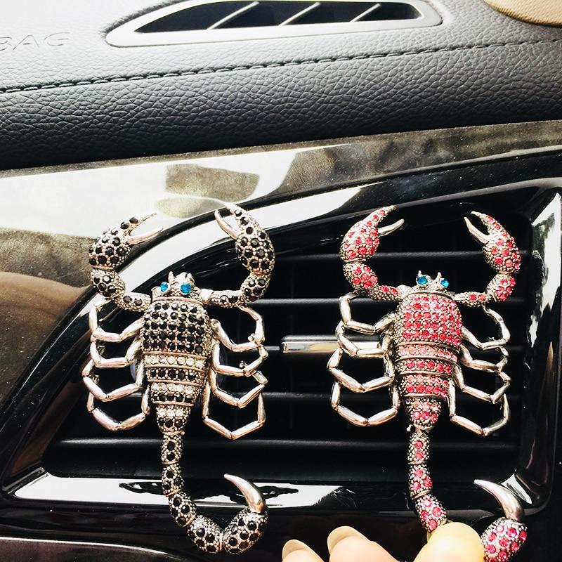 Perfume para salida de aire del coche clip difusor de fragancia colorido cristal diamante escorpión forma accesorios interiores ornamentos Correas de reloj Retro de cuero genuino para hombre y mujer, 18mm, 20mm, 22mm, 24mm, accesorios para Hebilla de Metal KZSD05
