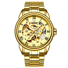 купить Men Retro Fashion Automatic Mechanical Watches Steel Strip Waterproof Student Watch Business Watches Double-Sided Hollow Watches дешево