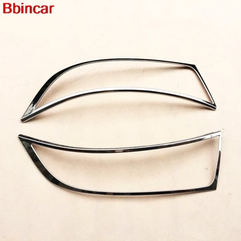 Bbincar ABS Chrome Front Up Head Light Lamp Cover Trim Front Lamp Hoods Frame Car Cover Auto Accessories 2PCS For Ford Edge 2015