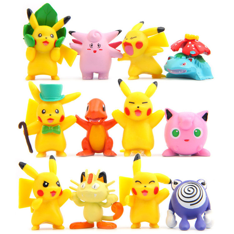 LOZ 12pcs/set Kawaii Cute High Qulity Pikachu Anime Action Figure PVC Model Decoration Toys Can Suitable For Pokemon Balls
