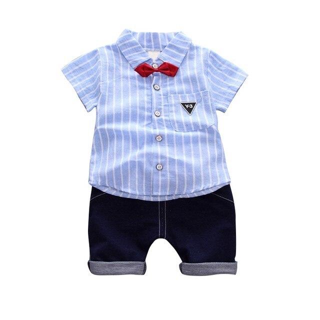 Zomer Kinderkleding.Zomer Kinderkleding Pak Jongen Korte Mouwen Gestreept Shirt Broek