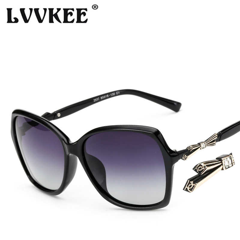 8e3be29bbb7f4 2018 Fashion Brand Butterfly Bow Polarized sunglasses Woman Large Frame  Brand design Black Sun glasses for