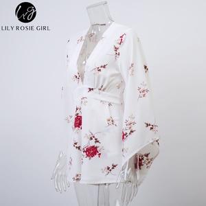 Image 5 - Lily Rosie dziewczyna głębokie V Neck biały kwiatowy Print przebrania kobiety z długim rękawem jesień zima seksowne kombinezony jednoczęściowe krótkie pajacyki kombinezony