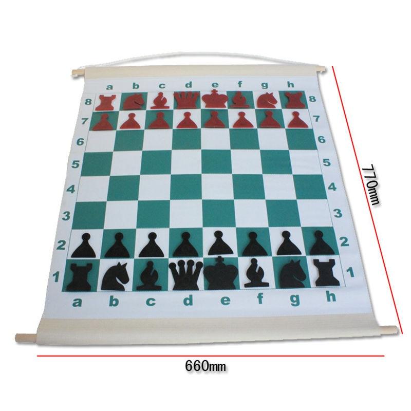 1 Set Standard International Chess Teaching Demonstration Checker &Chess Drum Chessboard PVC Reel Chessboard High Quality