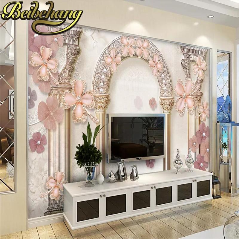 US $9.3 38% OFF Beibehang Römischen antike türen 3d wandbilder wohnzimmer  eingang wandbild tapete hochzeit hintergrund palace stairsl foto tapete in  ...