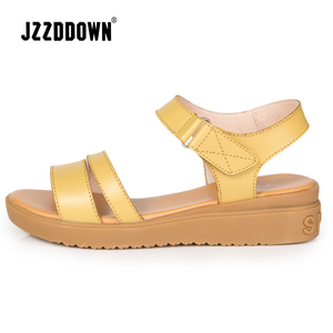 Image 3 - 本革の女性のフラットビーチサンダル靴の女性のプラットフォームスニーカーフリップ靴 2018 夏のファッションミッドヒール靴