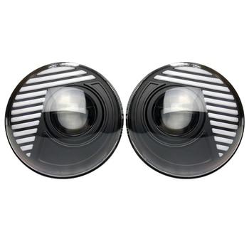 one pair 7inch round headlights such as for Wrangler JK TJ H ummer FJ etc Aluminum Alloy headlamp 90w 5500k J303 Lantsun