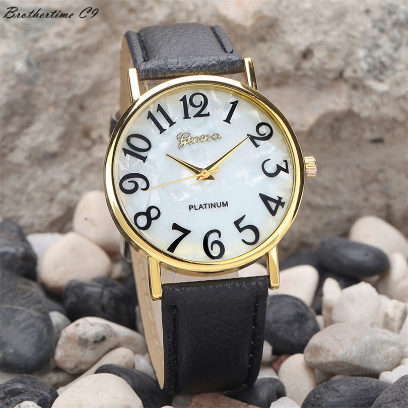 2018 Fashion Women Retro Digital Dial Leather Band Quartz Analog Wrist Watch Watches Free Shipping bayan kol saati