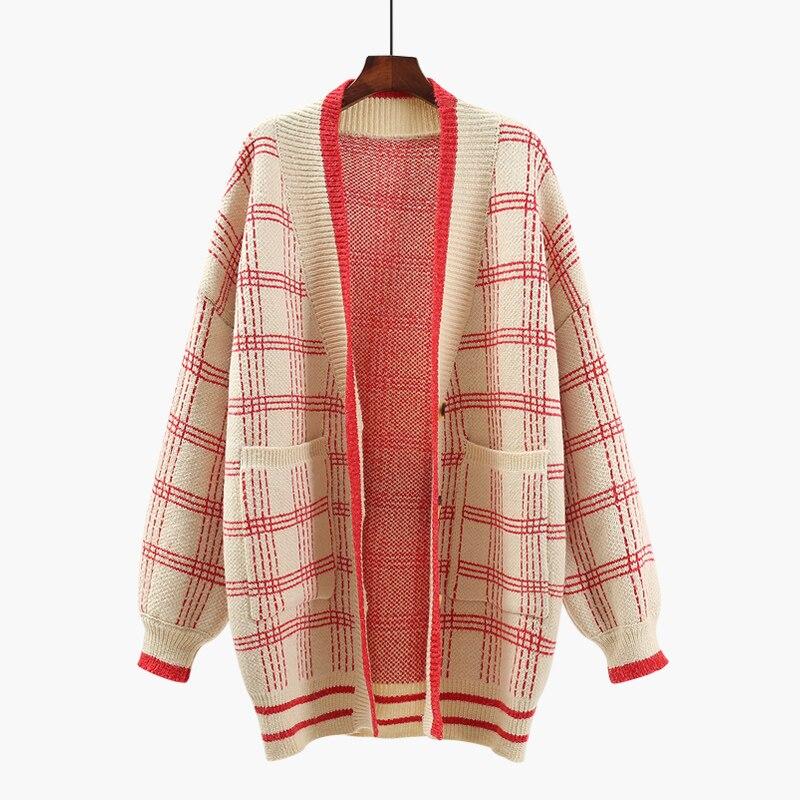 Korean Lantern Sleeve loose long sweater cardigan female spring 2018 winter coarse wool knitted coat tops