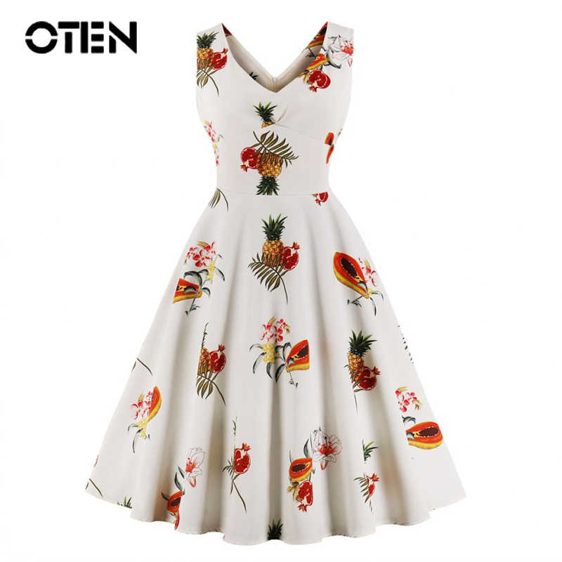 OTEN S-4XL plus size women summer dresses Sleeveless V Neck Sexy Ladies Pineapple Printed Casual Rockabilly pin up skater dress