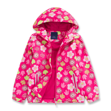 Flower Hooded Jacket Polar Fleece Lining Warm Sporty Coat Children Waterproof Breathable Cardigan Outerwear Girls Windbreaker