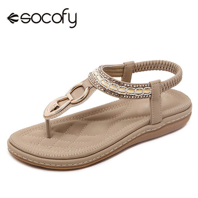 3f17f2e44839 Socofy Clip Toe Flat Sandals Women Shoes Casual Slip On Elastic Flip Flops  Bohemian Sandals Summer