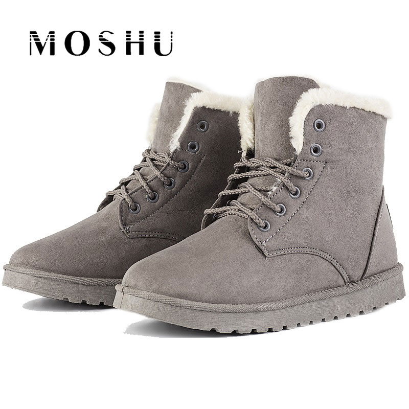 2017 Women Ankle Snow Boots Classic Flock Fur Winter Boots Female Lace Up Sewing Chaussure Femme designer women winter ankle boots female fur lace up snow boots suede plush sewing botas