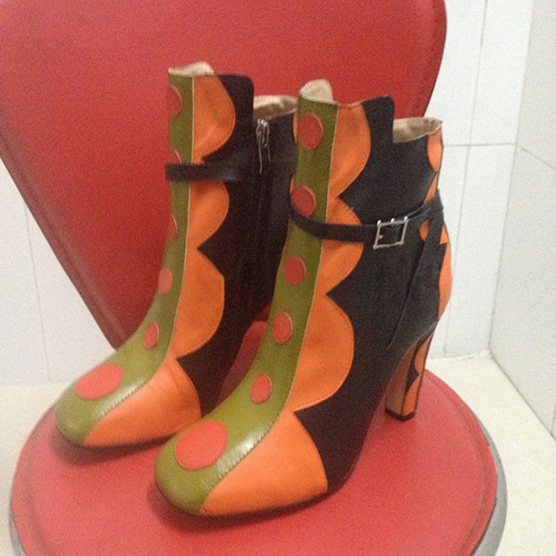 Ladies Fall Multi Polka Dot Patched Chunky Heels Ankle Boots Women Catwalk Mixed Colors Square toe Belt Buckled Bottines Shoes