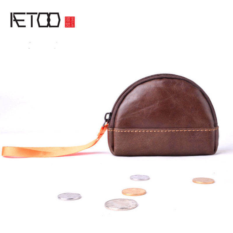 AETOO real Leather Coin Purses Women's Small Change Money Bags Pocket Wallets Key Holder Case Mini Pouch Zipper genuine leather coin purses women small change money bags pocket wallets female key chain holder case mini pouch card men wallet