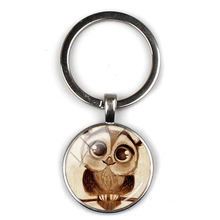 Popular cartoon cute owl pattern pendant keychain big eye bird retro animal picture glass round keyring party gift souvenir