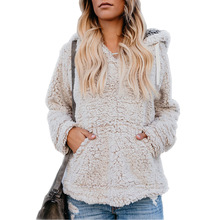 купить new Europe style casual winter thick pullover woman fleece clothes hooded warm long sleeve solid pockets female sweater дешево
