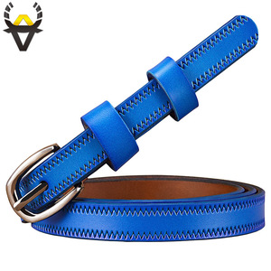 Image 3 - Narrow genuine leather belts for women Fashion Pin buckle waist belt female for jeans Cow skin girdle for dresses width 2.3 cm